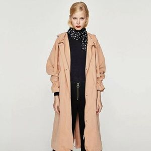 Zara trf outerwear long pink jacket